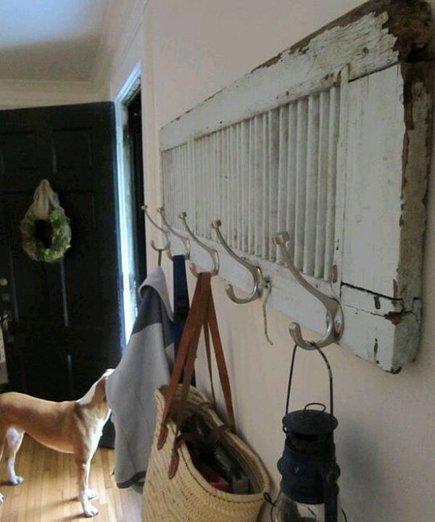 repurposing ideas - vintage painted shutter coat rack from homedit via Atticmag