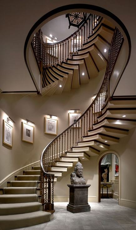 luxurious sprial staircase by Suzanne Lovell Inc via Atticmag