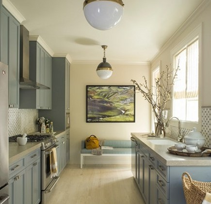 light blue kitchen cabinets - blue gray transitional kitchen by Angela Free Design via Atticmag