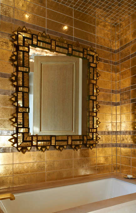 gold bathrooms - gold tile bath by Michael S. Smith - Michael S. Smith Kitchens and Baths via Atticmag