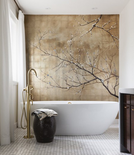gold bathrooms - renovated bath with silver and gold-leaf wall mural - HouseandHome via Atticmag