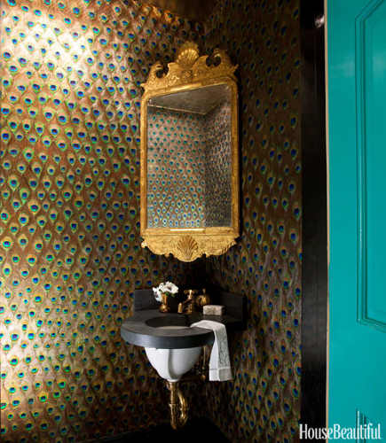 Miles Redd gold powder room with peacock feather collage - House Beautiful via Atticmag