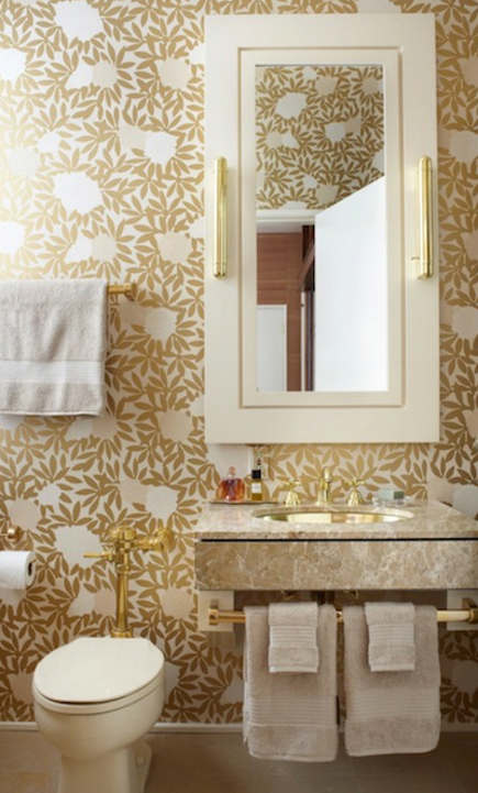 gold bathrooms - Gold Asuka wallpaper bath - Jennifer Lagrange via Atticmag