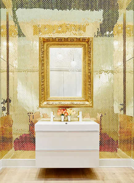 gold bathrooms - Ikea gold mirror tile concept bath - decorhappy via Atticmag