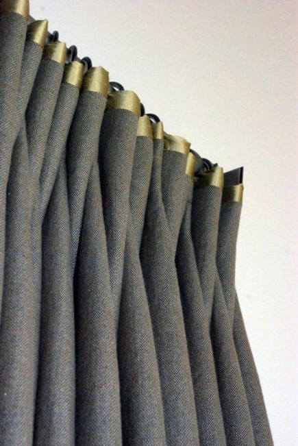 linen curtains with satin contrast top edge - Drapery Street via Atticmag
