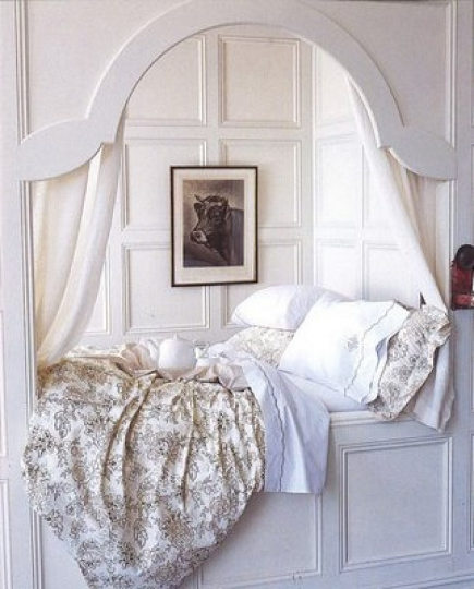 white-painted paneled double bed alcove - Its All in the Details via Atticmag