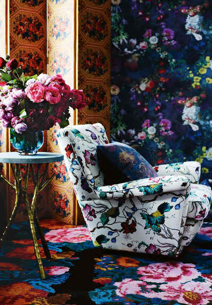 layered rose patterns in a sitting room - Vogue Living via Atticmag