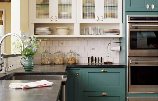 blue green kitchens - classic kitchen with blue-green cabinets - BH&G via Atticmag