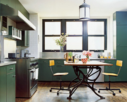 Nate Berkus' Chicago kitchen with blue-green cabinets - Elledecor via Atticmag