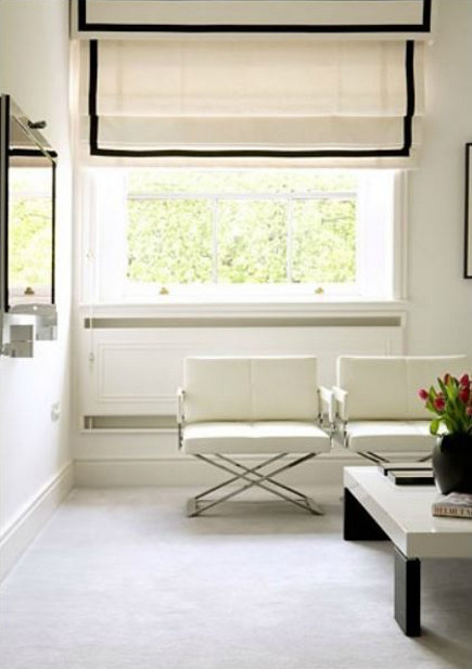 white roman shade with plain black inset border on shade and valance - Rachael Smith Photography via Atticmag