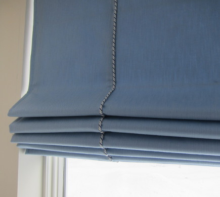 roman shade details - blue denim roman blind with lip corded seams - Atticmag