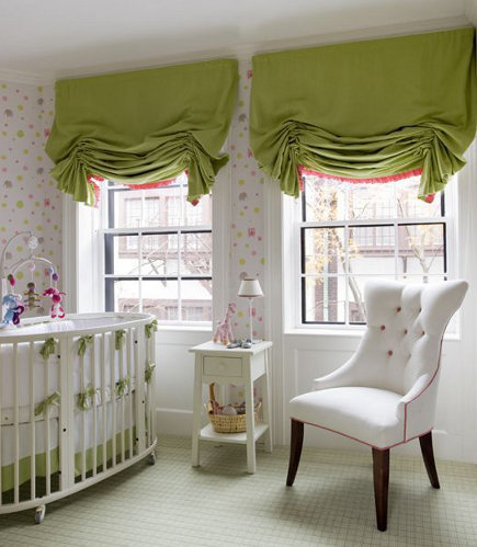 roman shade details- green London roman shades with pink ruffle border - kate coughlin interiors via atticmag