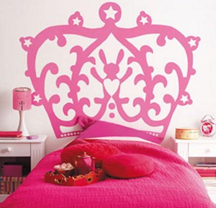 pink bedrooms - pink princess crown headboard in a girl's bedroom - kidskammers via atticmag