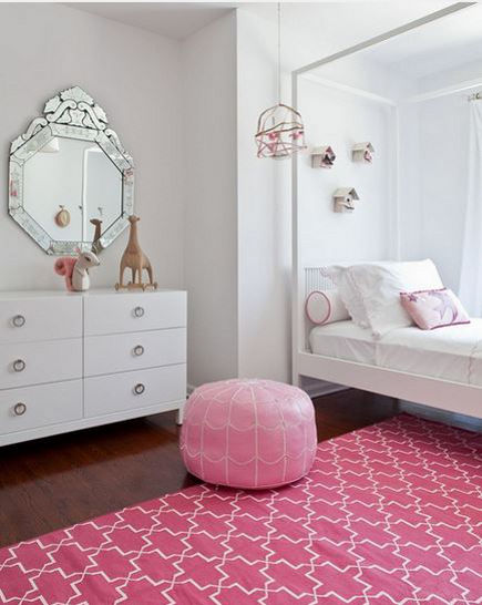 pink bedrooms - girls room with pink Madeline Weinrib Brooke carpet - atticmag