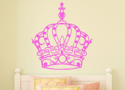 pink bedrooms - pink princess crown wall decal - mywalldecal.com via atticmag