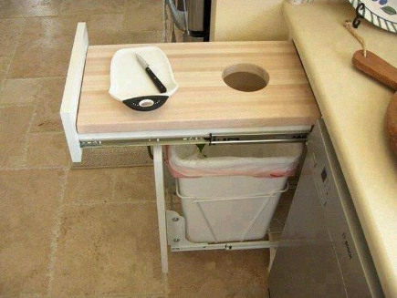 kitchen cabinet tandem trash and cutting board pull outs - garywafford via atticmag