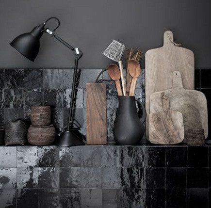black Moroccan-tile kitchen – romain ricard photo -style-files.com via Atticmag