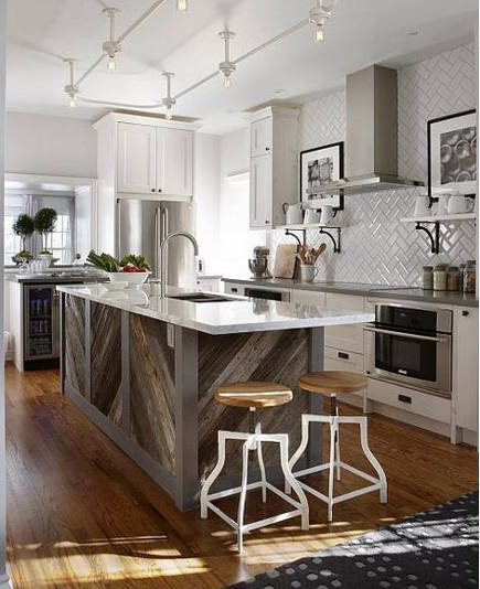 kitchen with diagonal planked weathered wood island - Sarah Richardson via Atticmag