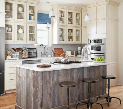 white kitchen with horizontal planked weathered wood island - Country Living via Atticmag
