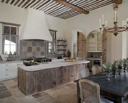 French chateau style kitchen with horizontal planked weathered wood island - Cote de Texas via Atticmag