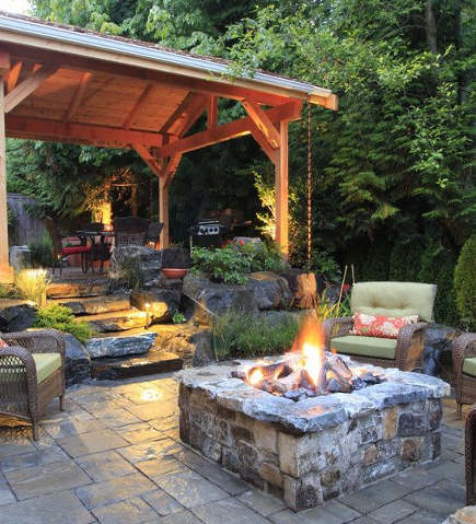 Stone firepit on a patio – alderwood landscaping via atticmag