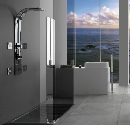 shower system intelligence - bathroom with Graff ski shower - Graff via Atticmag