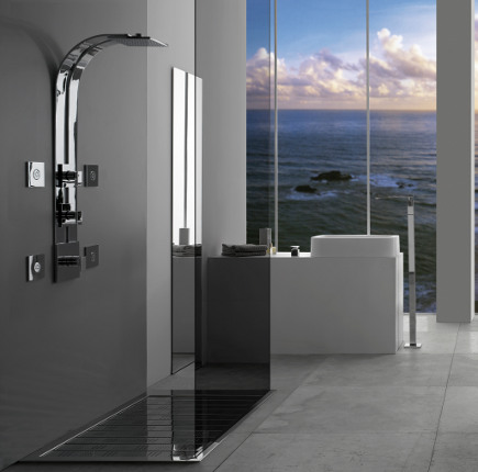 bathroom with Graff ski shower - Graff via Atticmag