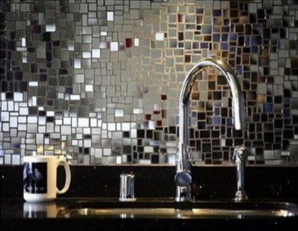 Backsplash of Chrysallis mirror mosaic tile - Ann Sacks via Atticmag