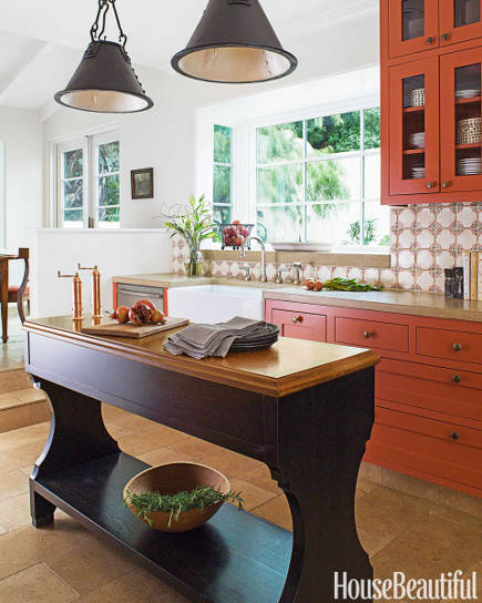 Orange Kitchen Cabinets Are Muy Caliente Thanks To A Great Paint Color And Some Very Cool Tile