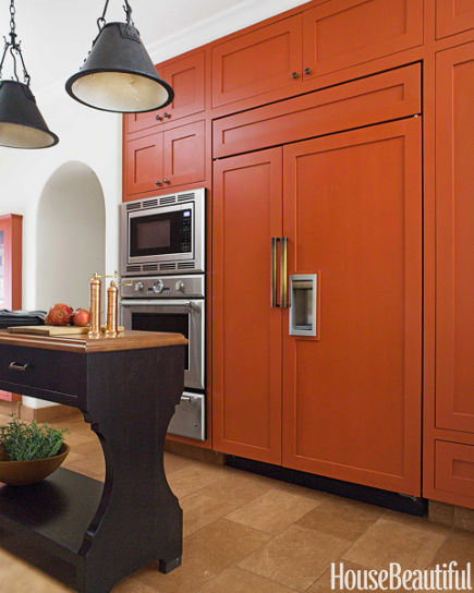 Orange Cabinet Kitchen