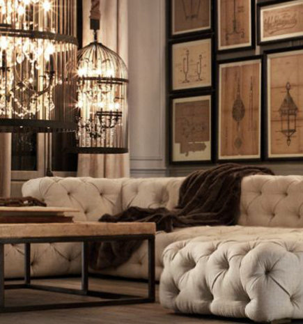 Beige Soho tufted sectional sofa – Restoration Hardware via Atticmag
