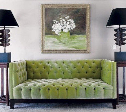 tufted modern sofas - Apple green tufted contemporary sofa – House and Home via Atticmag