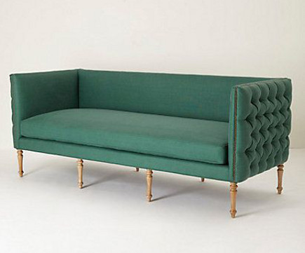 Bottle green contemporary sofa with exterior tufting – Anthropologie via Atticmag