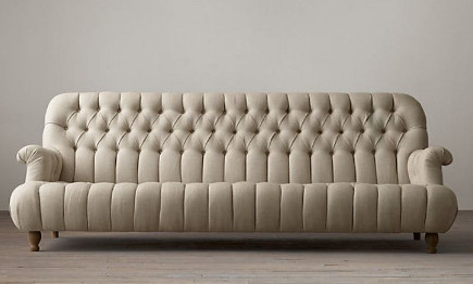 Beige 1860 Napoleonic tufted sofa - Restoration Hardware via Atticmag