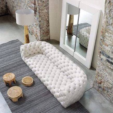 tufted modern sofas - White Chester Moon contemporary tufted sofa – Baxter via Atticmag