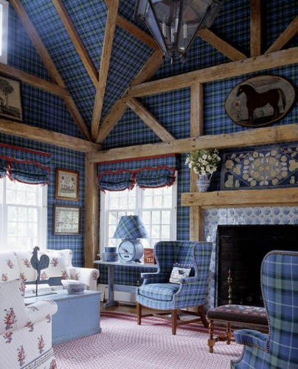half-timber bedroom with blue plaid-upholstered walls and ceiling - Anthony Baratta via Atticmag