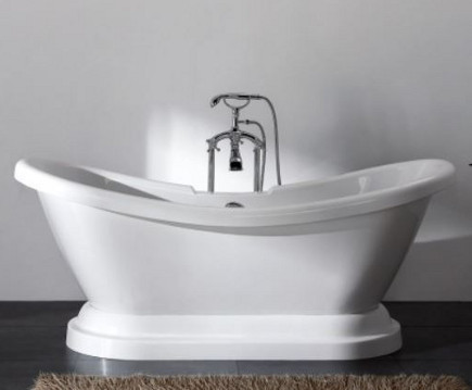 Monarch freestanding acrylic slipper footed bathtub -bathandshower.com via atticmag
