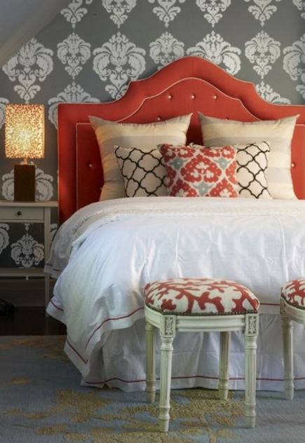 orange home decor in a tangerine upholstered headboard in a bedroom – beautifulwalldecals via atticmag