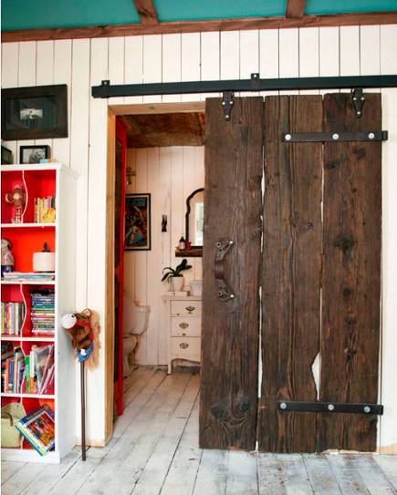 Vintage Restored Natural Wood Sliding Interior Barn Door In An Ontario  Farmhouse U2013 The Marion House