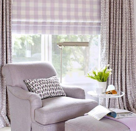 window done in lavender print fabrics with Roman shade under draperies - Amanda Nisbet via Atticmag