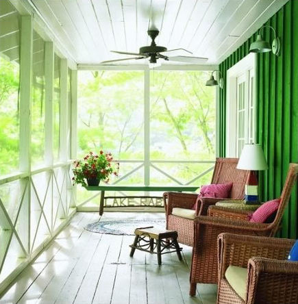 Leaf green and white screen porch - Gridley & Grimes via Atticmag