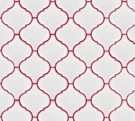 white lantern or arabesque tile set with red grout - colvm blog via atticmag