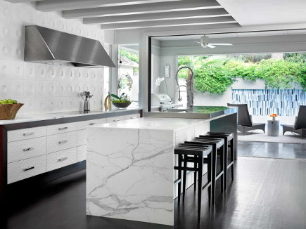 modern kitchen with Andy Blick dimensional Discus tile - HammerSmith via Atticmag