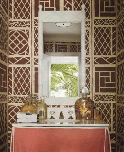 brown and natural Lyford Trellis bathroom wallpaper by China Seas - Quadrille via Atticmag