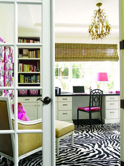 zebra print rug in feminine home office - Room to Inspire via Atticmag