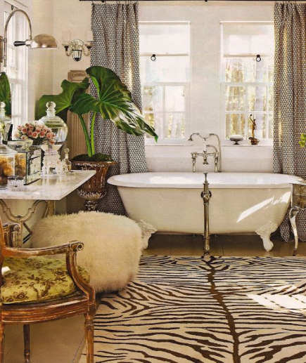 zebra print carpet in eclectic bath – My Design Dump via Atticmag