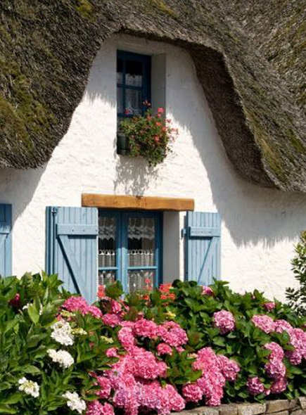 Sevres blue shutters on a cottage – Artesanato & Humor de Mulher  via Atticmag