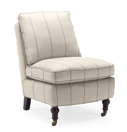 Kate Slipper Chair with welted seat and back cushions – Williams Sonoma Home via Atticmag