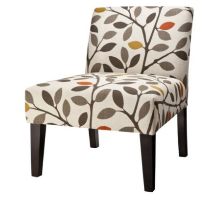 Avington slipper chair upholstered in leaf-and-branch pattern – Target via Atticmag
