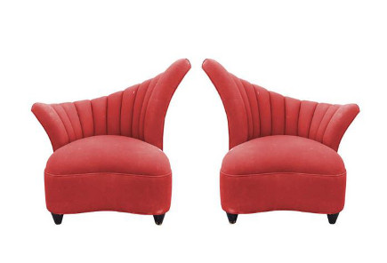 Pair 1940s vintage fan-back slipper chairs in original fabric – Cain Modern via Atticmag